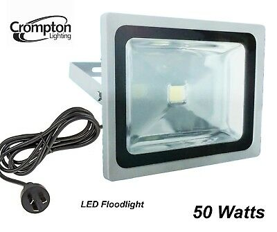 Crompton 50W LED Outdoor Security Floodlight with Motion Sensor, Cord & Plug