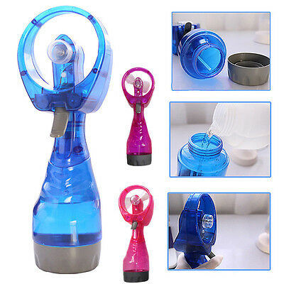 Portable Handheld Water Spray Misting Fan Cooler Battery Operate Office Travel