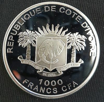 2010 Ivory Coast  1000 Francs Silver PROOF Coin....UNC...