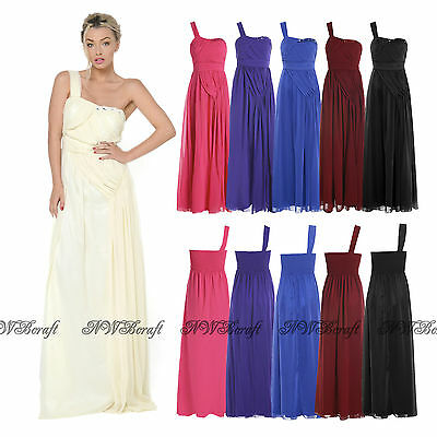 2017 Chiffon One Shoulder Formal Long Party Ball Bridesmaid Prom Evening Dress
