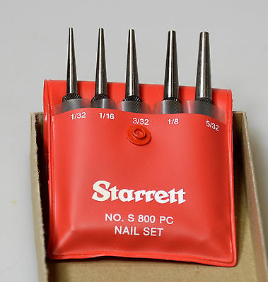 Starretts Square-Head Nail Set punch. Set of 5 in plastic case. 800A-E