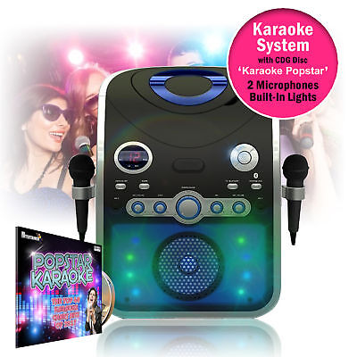 Bluetooth Home Karaoke Player Machine Microphones Lights CD+G Discs Party Songs