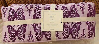 Pottery Barn Kids Windsor Butterfly Embroidered Crib Bumper, Lavender, New