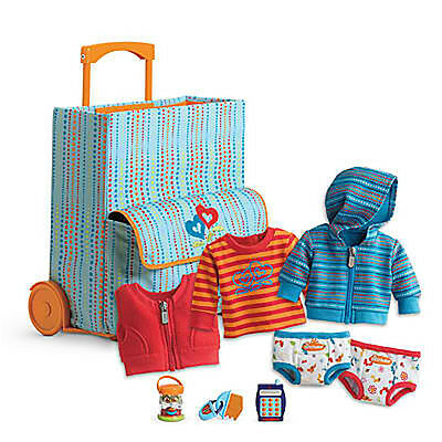 """American Girl BT BITTY TWIN STARTER SUITCASE SET 9 PC for 15"""" Dolls NEW"""