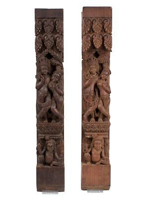 Nepal 20. Jh. Holz - Two Nepalese Carved Wood Relief Panels Vishnu & Lakshmi