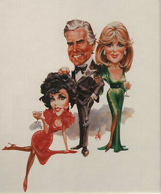 """JOAN COLLINS - LINDA EVANS - 10"""" x 8"""" Photo DYNASTY CARICATURE TV GUIDE  #3684"""