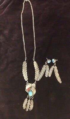 Beautiful Native American Sterling, Carnelian & Turquoise Necklace/Earring KP271