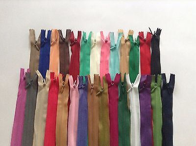 """Invisible Concealed Zip Zipper Hidden Closed Ended Zip Various Colours18"""" 45cm"""