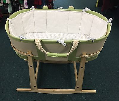 Serena and Lily Sausalito Moses Basket/Bassinett with Wooden Rocking Stand