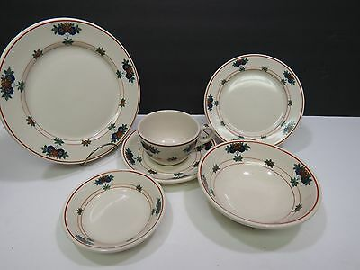 6 Pieces Place Setting Old Ivory Syracuse Shenango China Canterbury Diner Floral