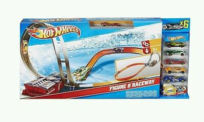 FREE delivery Kids Toy Hot Wheels Figure 8 Raceway Motorised Track Set 6 Cars