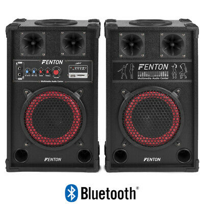 """Bedroom DJ Active Passive Home Disco Party Speakers 8"""" Bass Woofer USB SD 400W"""