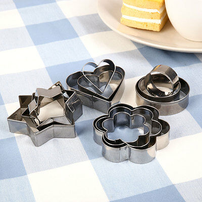 12Pcs Stainless Steel Cookie Cake Pastry Mould Cutter Cake Baking Decor Set Tool