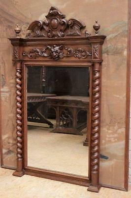 Antique French Hunt Mirror Tall Model with Barley Twist 19th Century