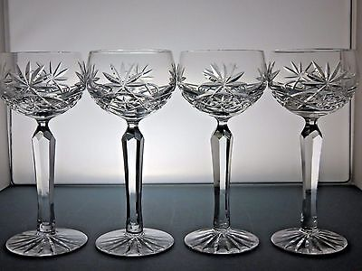 Large Crystal Cut Glass Hock Wine Glasses Set Of 4 - 18.7 Cm Tall