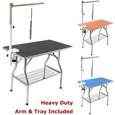 """32"""" Stainless Steel Frame Heavy Duty Pet Dog Foldable Grooming Table w/ Arm Tray"""