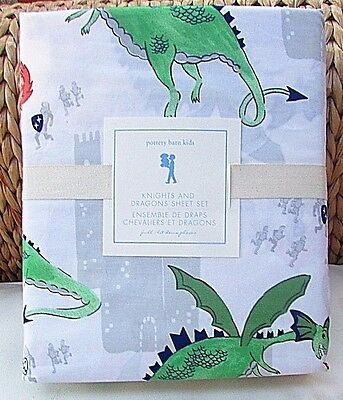 4Pc Pottery Barn Kids Knights And Dragons  Full Sheet Set, Brand New