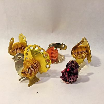 5 Mini Vtg Art Tissue Turkey Squirrel Honeycomb & Foil Thanksgiving Decoration