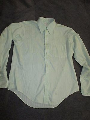 VINTAGE 1960s DRESS SHIRT ARROW KENT COLLECTION GREEN SIZE 16X33 FRENCH CUFF