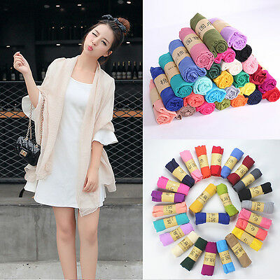 Fashion Women Soft Long Cotton Linen Wrap Scarf Shawl Solid Color Stole Pashmina