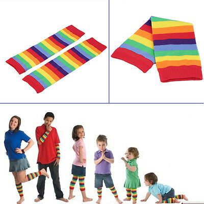 Girls Baby Kids Children Rainbow Colorful Striped Thigh High Warm Leg Socks P5