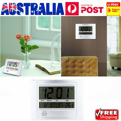 Hot Self Setting Digital LCD Home Office Decor Wall Clock Indoor Temperature E6@