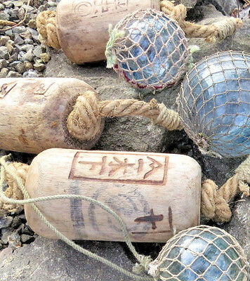 3 WOODEN Japanese Floats ANTIQUE Kanji Rope w/ 3 Netted Glass Floats AUTHENTIC!