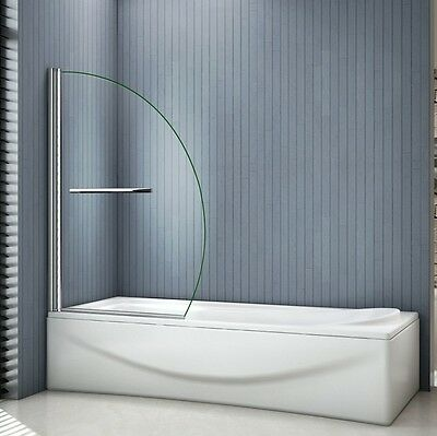 1000x1500mm Chrome 180?Pivot Bath Shower Screen 8mm EasyClean Glass With Handle