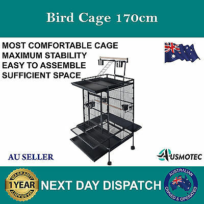 New Parrot Aviary Bird Cage 170cm Pet Stand Alone Budgie Extra Large Black