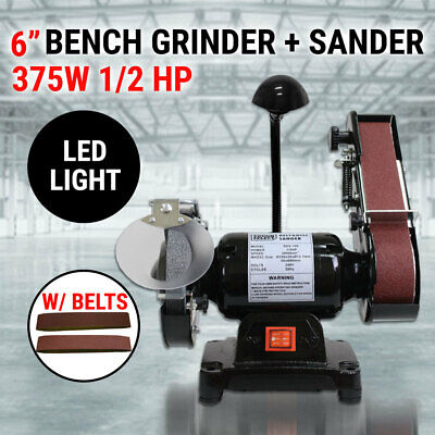 "6"" Bench Grinder Belt Sander 1/2HP 375W 150mm Sharpener Linisher Sanding Grindin"