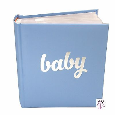 Baby Boy Blue Quality Photo Safe Archival 200 Slip In Photo Album Baby Boy Gift