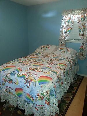 Vintage Rainbow Brite FULL Size Bedroom Set~Comforter, Shams, Curtains, Tie Back