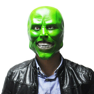 """""""The Mask"""" Green Latex Mask Jim Carrey Movie Halloween Fancy Dress Scary Cosplay"""