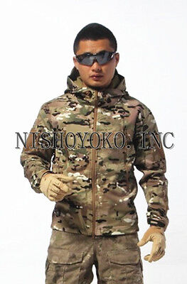Outdoor Jacket Waterproof Coat Multicam Shark Soft Shell Hoodie Camping Hunting