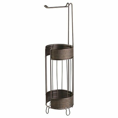 InterDesign Twillo Bathroom Free Standing Toilet Tissue Roll Holder Plus, Bronze