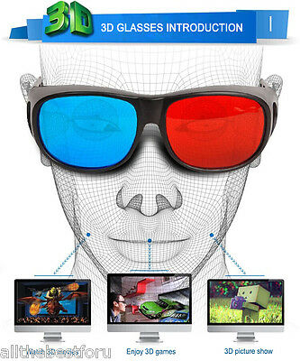 NEW Red&Blue 3D Glasses Black Frame For Dimensional Anaglyph Movies Game DVD UK