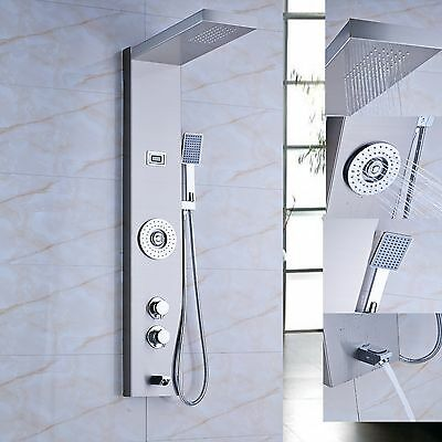 Stainless Steel Shower Column Panel Thermostatic Mixer Tap Tub Hand Shower NEW