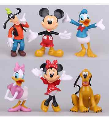 6pcs Lot Mickey Minnie Mouse and Donald Duck Figures Toppers Kids Toy Doll Gift