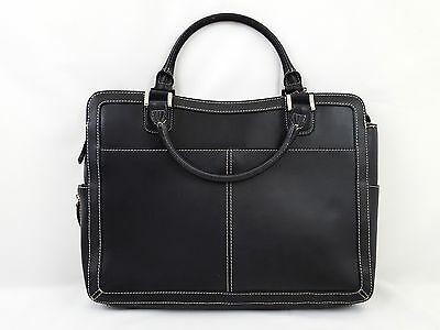 Franklin Covey Black Leather Laptop Briefcase Business Travel Tote Bag