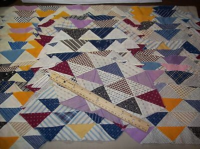 Antique Vintage Quilt blocks-Ocean wave/triangles Hand sewn 34pc Lot