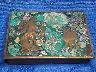 Vintage Mexican Brass Box, Silver, Brass, Copper, Turquoise