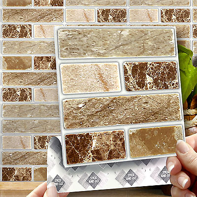 8 Stick & Go Onyx Stone Wall Tiles Stickers for Kitchens and Bathrooms