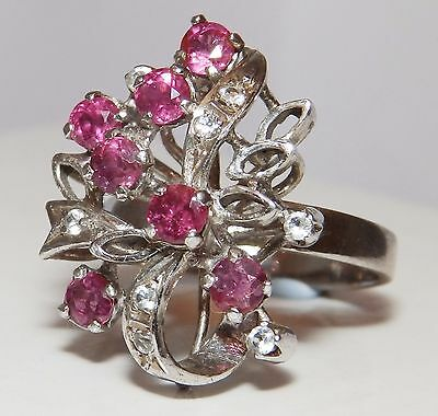 RETRO VINTAGE  SILVER  RUBY CLUSTER STATEMENT  COCKTAIL RING size N  4.9g