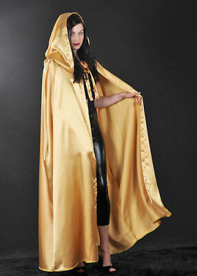 Adults Stunning Long Gold Satin Cape