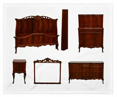 Flame Mahogany French Style Carved 5pc Bedroom Set Suite by Pennsylvania Furnitu