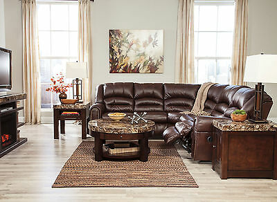 NAPLES - Brown Faux Leather Recliner Sofa Couch Sectional Set Living Room New