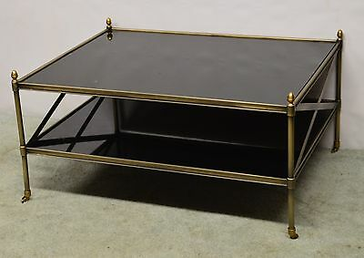 Hollywood Regency Modern Metal and Brass Glass Coffee Table Finials and Castors