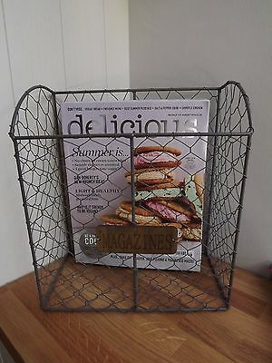 Vintage Style Metal Wire Magazine Rack-shabby Chic-Industrial