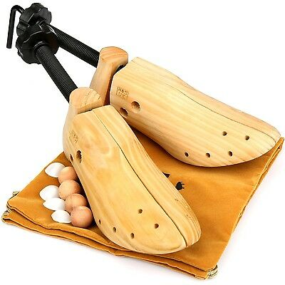 H&S 2 x Gents Pine Wood Shoe Trees Stretchers Wooden Shapers Three Way Mens S...