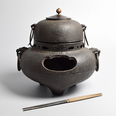 Japanese Cast Iron Chagama Kettle & Furo for Tea Ceremony, Japan Metalwork